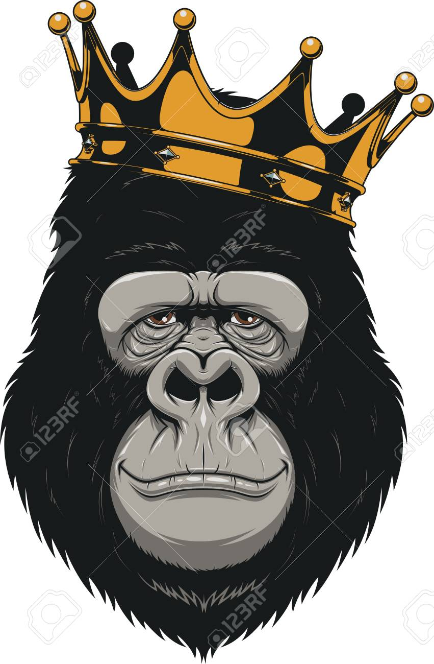 Vector Illustration Funny Gorilla Head On With CrownKing Of