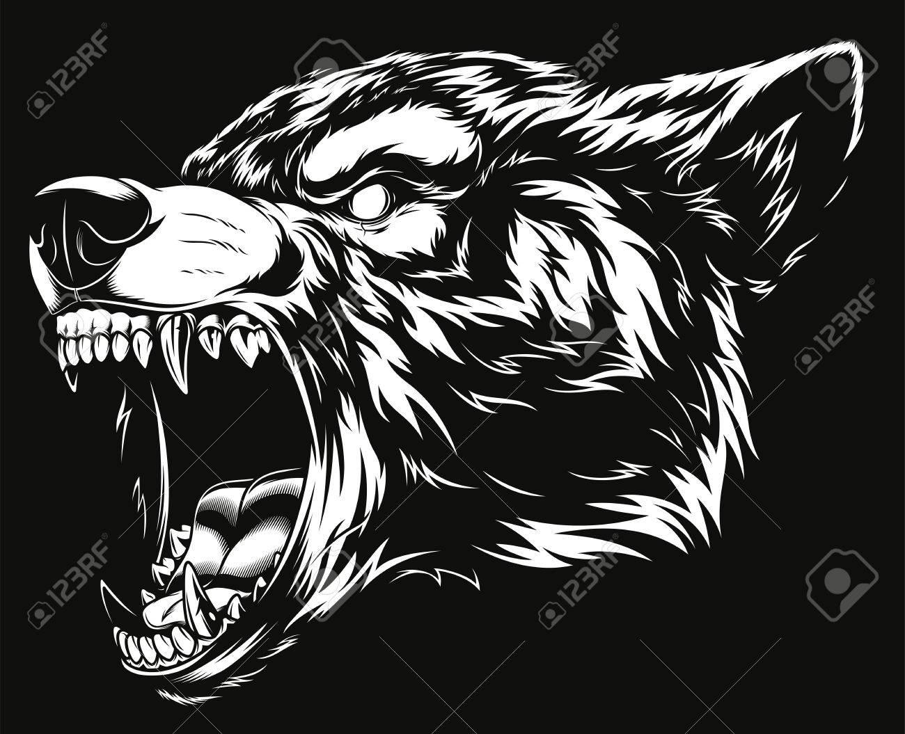 Ferocious wolf head illustration. - 84286576