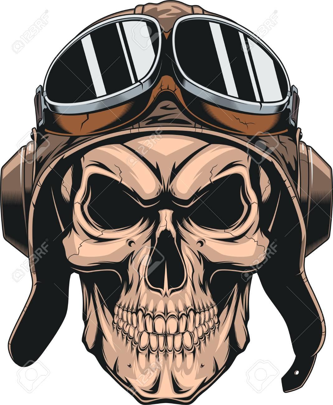 Wicked skull with pilot helmet. - 88503786