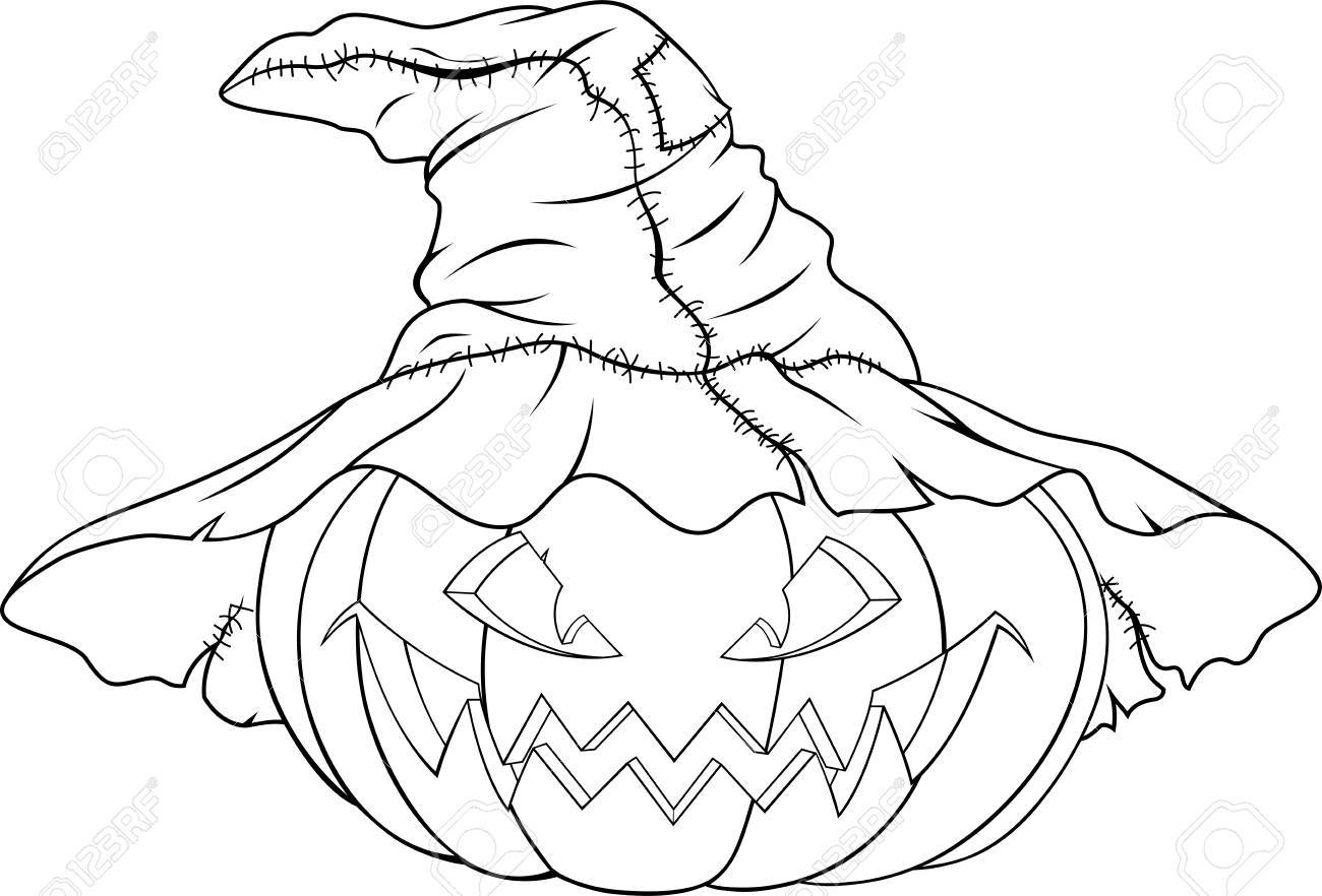 illustration of evil pumpkin in witch hat for halloween royalty