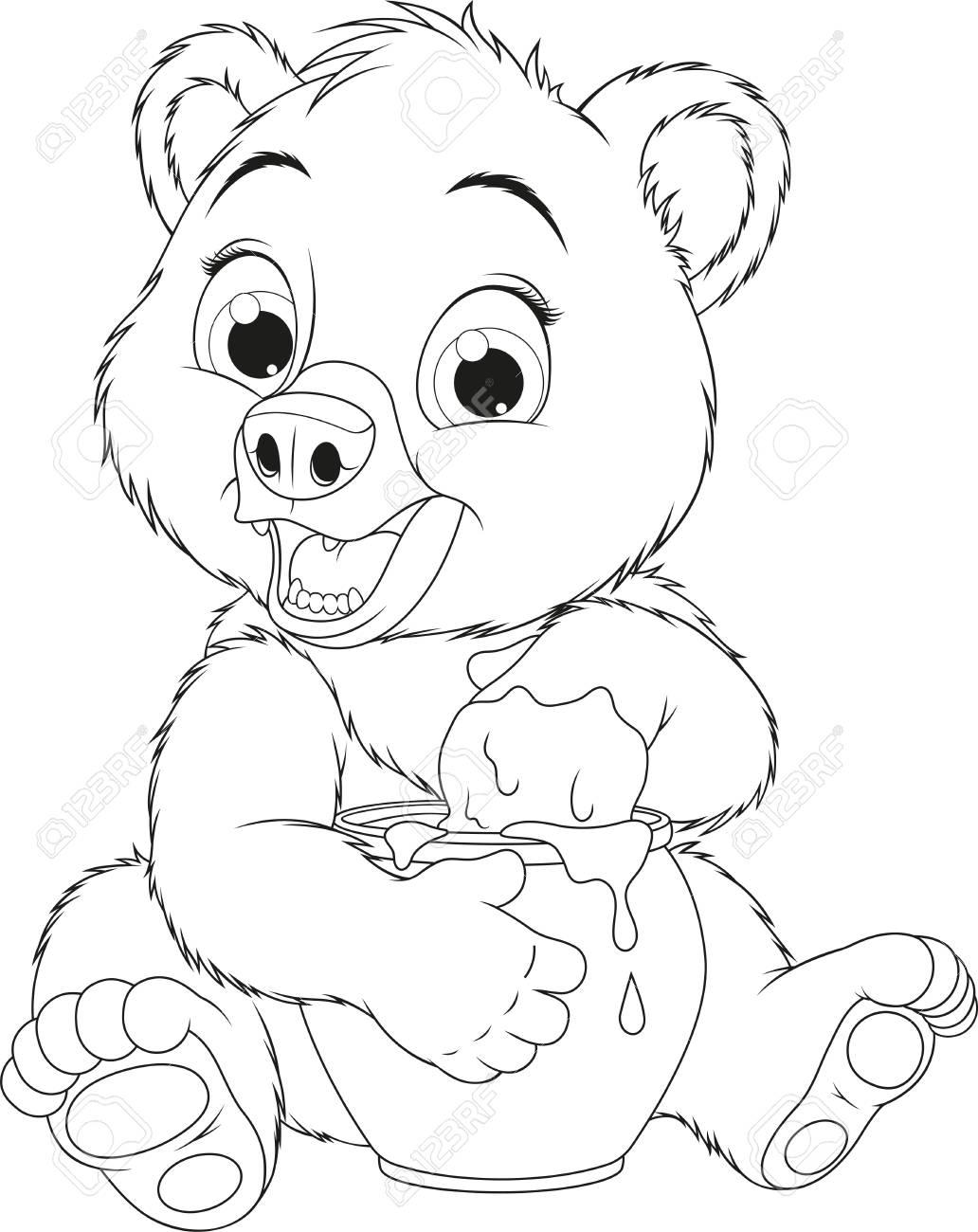 Ilustración De Vector Oso Gracioso Del Bebé Le Gusta Comer Miel De