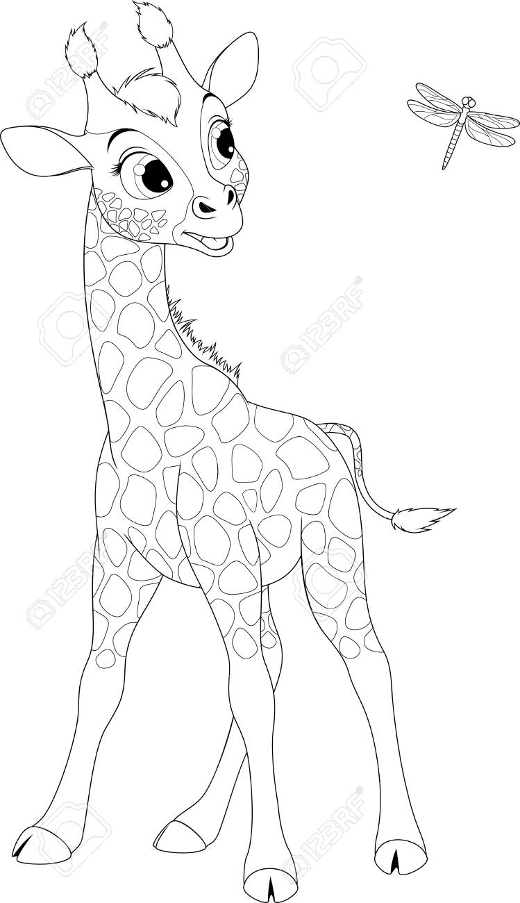 Vector Illustration, Funny Little Giraffe Playing With A Dragonfly ...