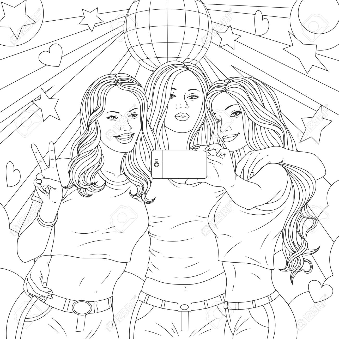 Vector Illustration Three Beautiful Girls Are Photographed On