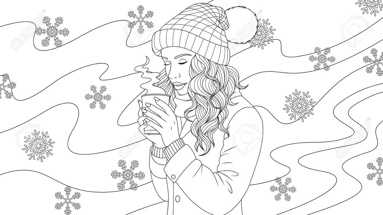 Vector Illustration Of A Beautiful Girl Drinking Coffee Outdoors