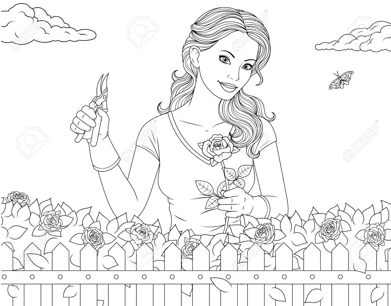 Vector illustration coloring page, beautiful girl is caring for roses in the garden - 126311429