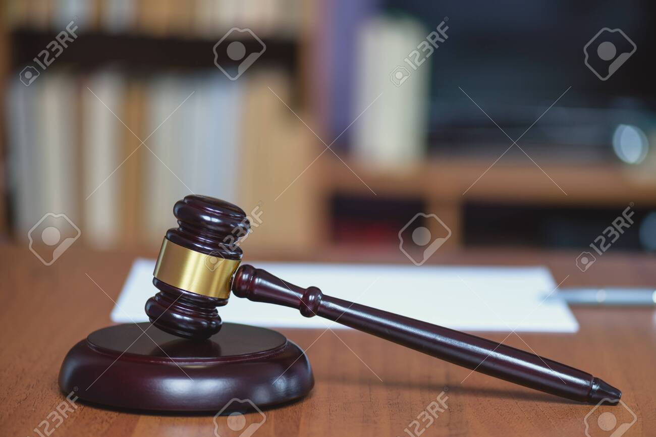 Justice and law concept. Wooden hammer of the judge. Court and decision. Judge hammer on the wooden table. Judge pronounced the sentence. Judicial justice and law. - 144616995