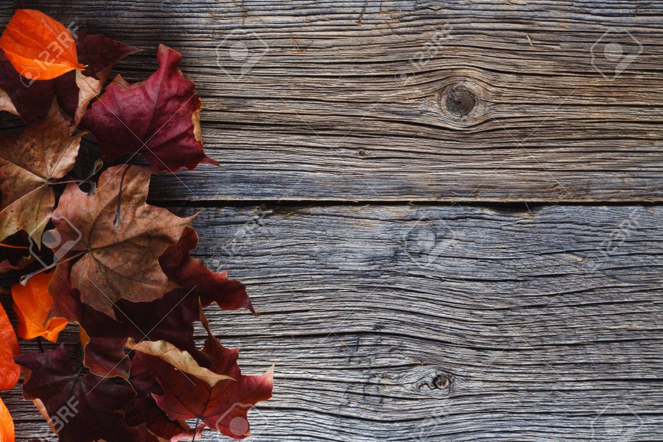Fall Leaves On Rustic Wooden Background Stock Photo