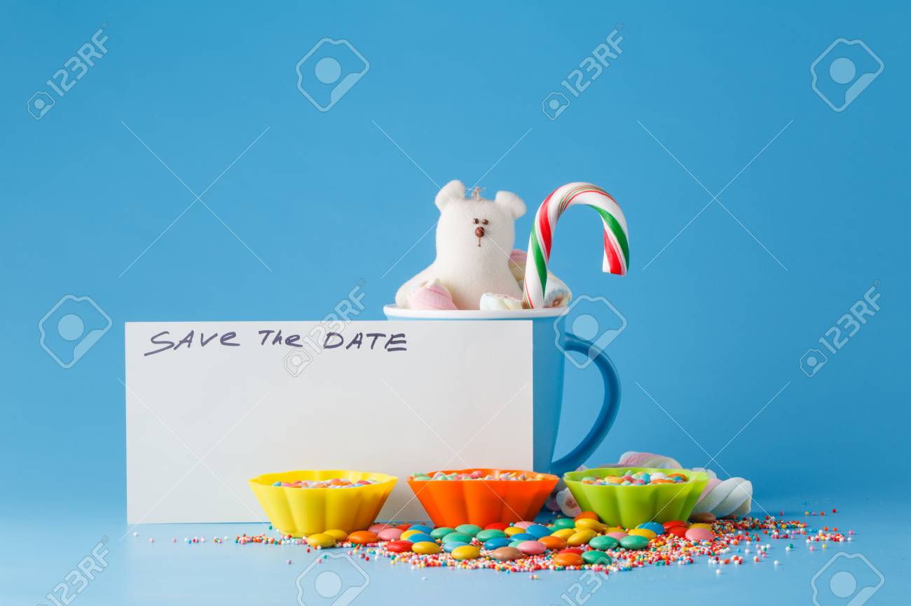 kid holiday invitation colored candy and mug with note save stock