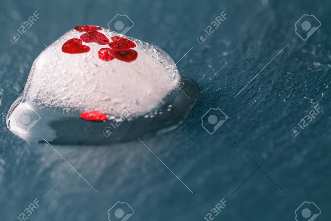 Frozen Red Heart As A Symbol Of Frozen Love, Ice Cubes With Heart, A