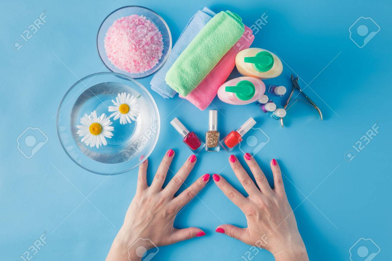 Spa Hands Accessories On Plain Blue Background Stock Photo, Picture ...