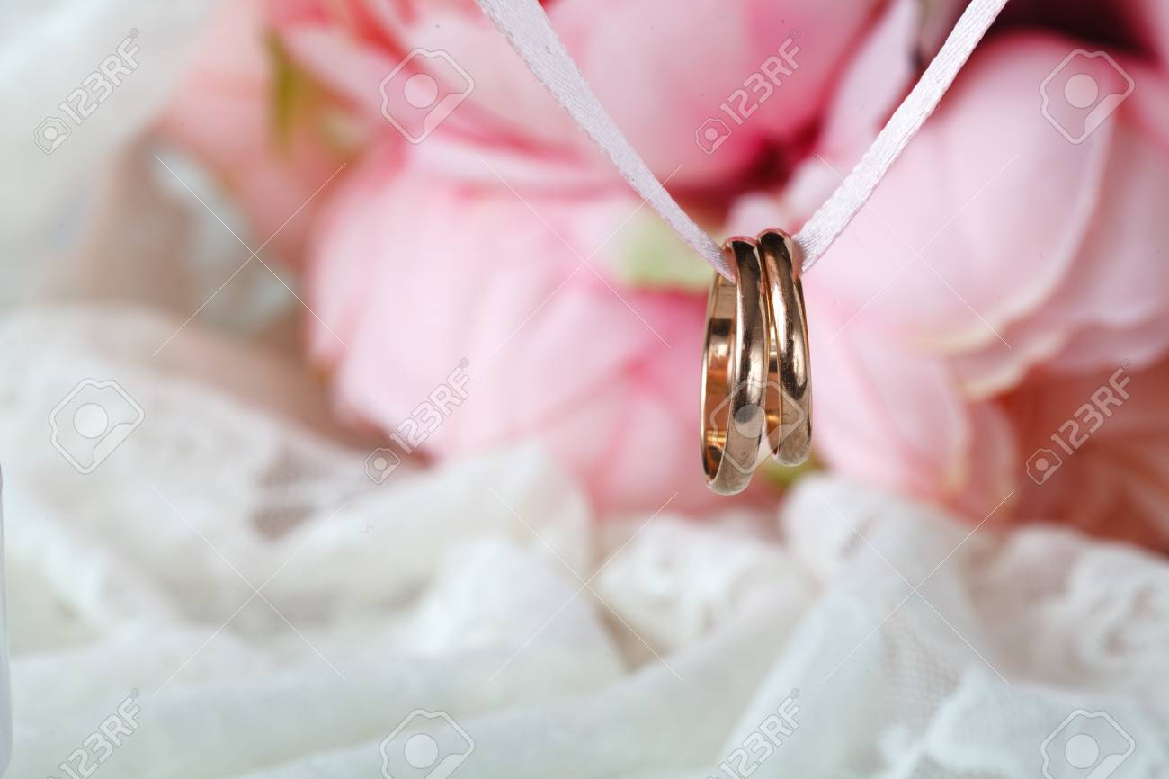 Close Up View Of Pair Golden Wedding Rings Stock Photo, Picture And ...