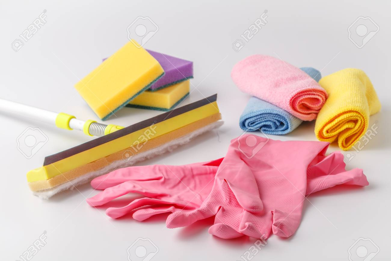 Cleaning set of different items for kitchen, bathroom and other rooms. Copy space. Cleaning service concept - 123096334