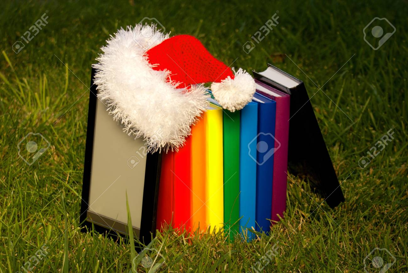 Electronic book reader wearing Santa Stock Photo - 10612487