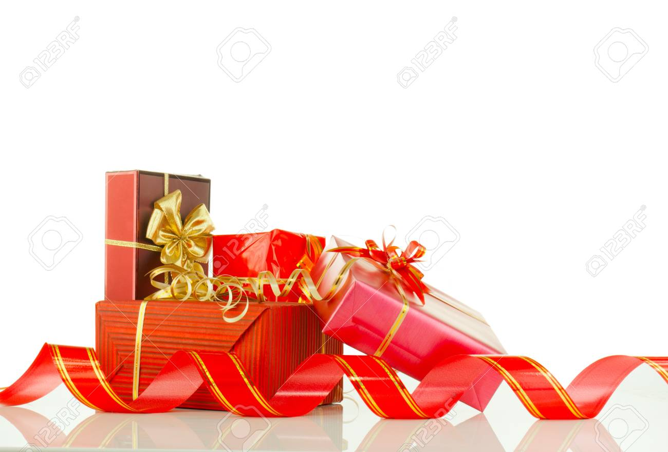 Christmas Presents In Red Boxes Against White Background Stock Photo ...