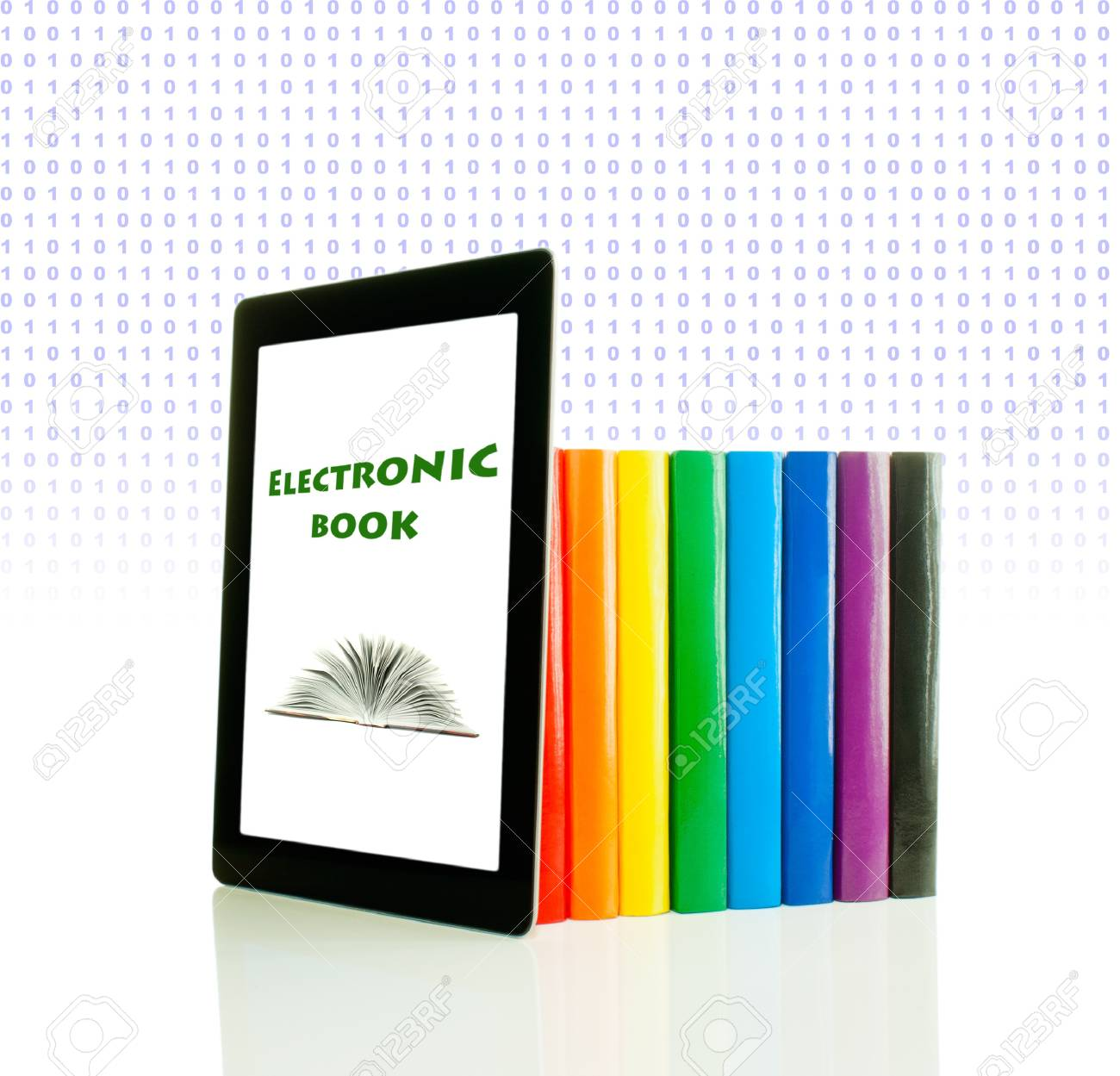 Row of colorful books and tablet PC over white background Stock Photo - 11885505