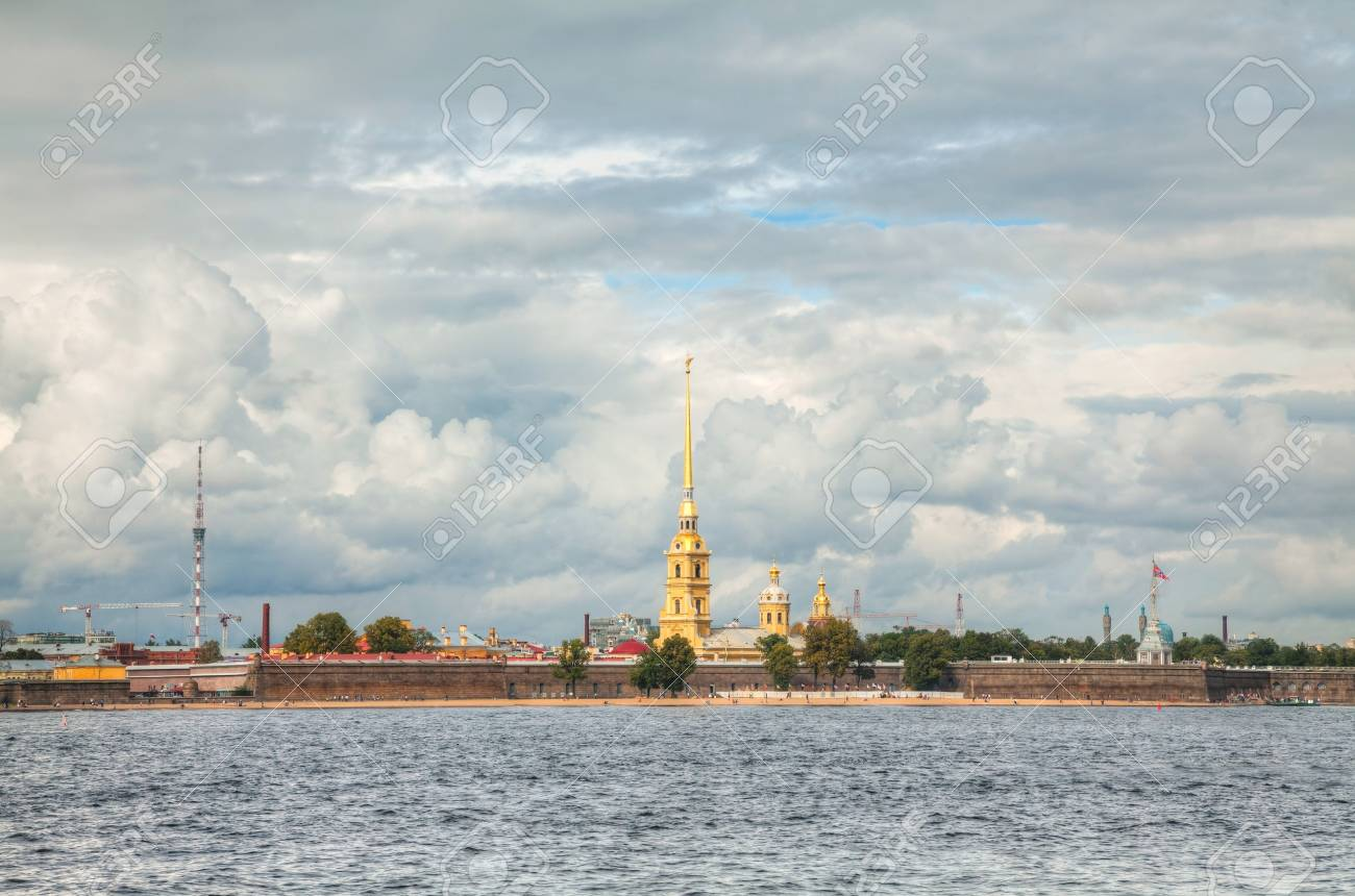 Overview of Saint Peter and Paul fortress in St. Petersburg, Russia on a cloudy day Stock Photo - 17184893