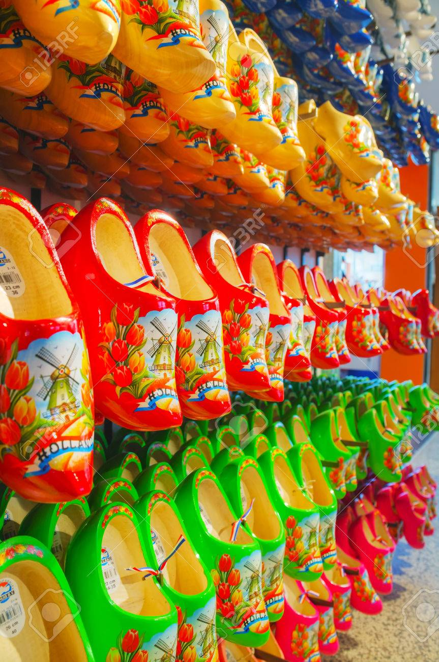 Amsterdam April 16 Colourful Traditional Dutch Wooden Shoes