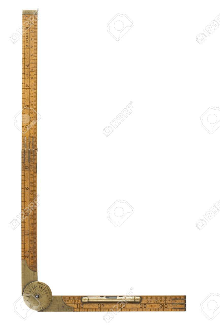Antique carpenter's boxwood folding rule marked Rabone with brass level and protractor, isolated and containing clipping path Stock Photo - 5813701
