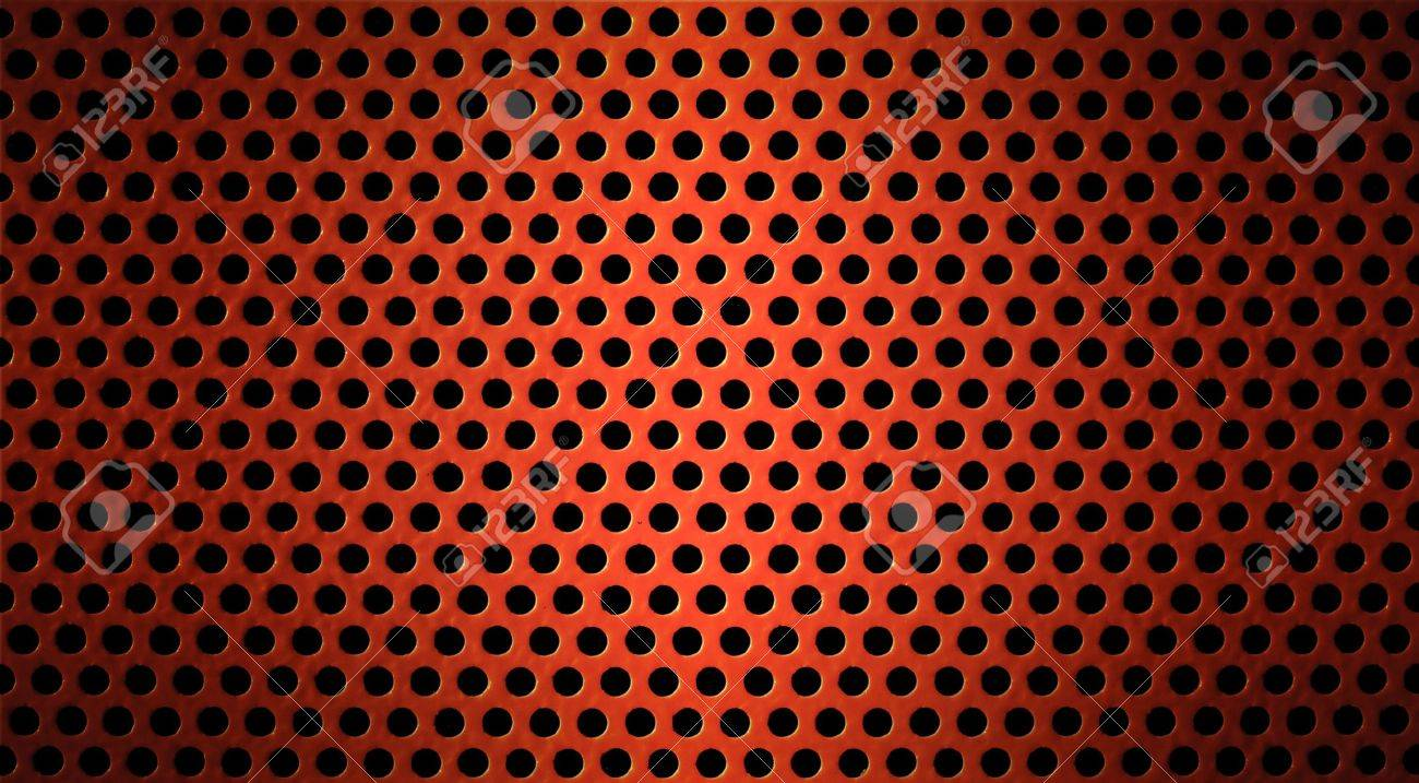 red metal holed or perforated grid background Stock Photo - 7975707