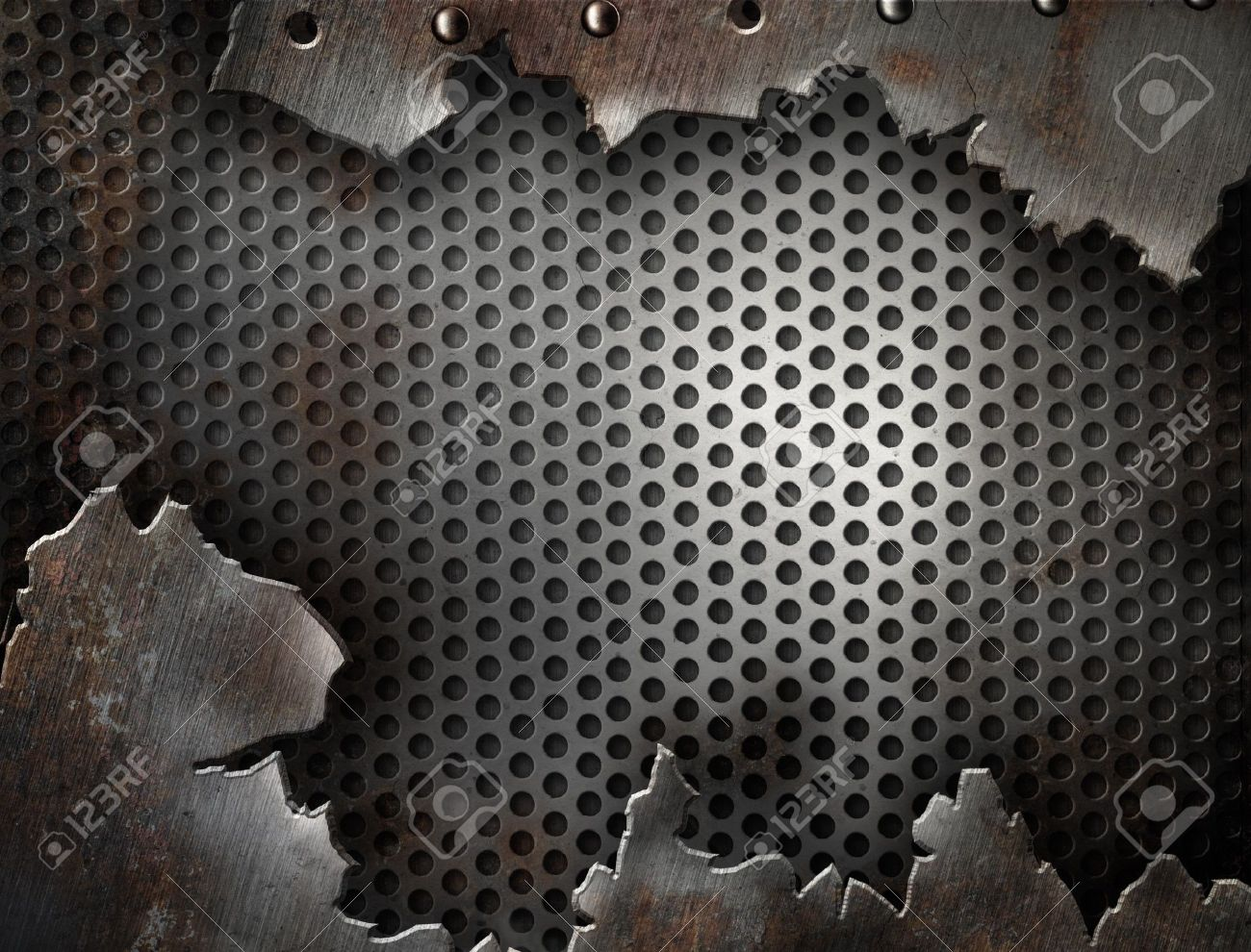 crack metal grunge background with rivets Stock Photo - 8056580