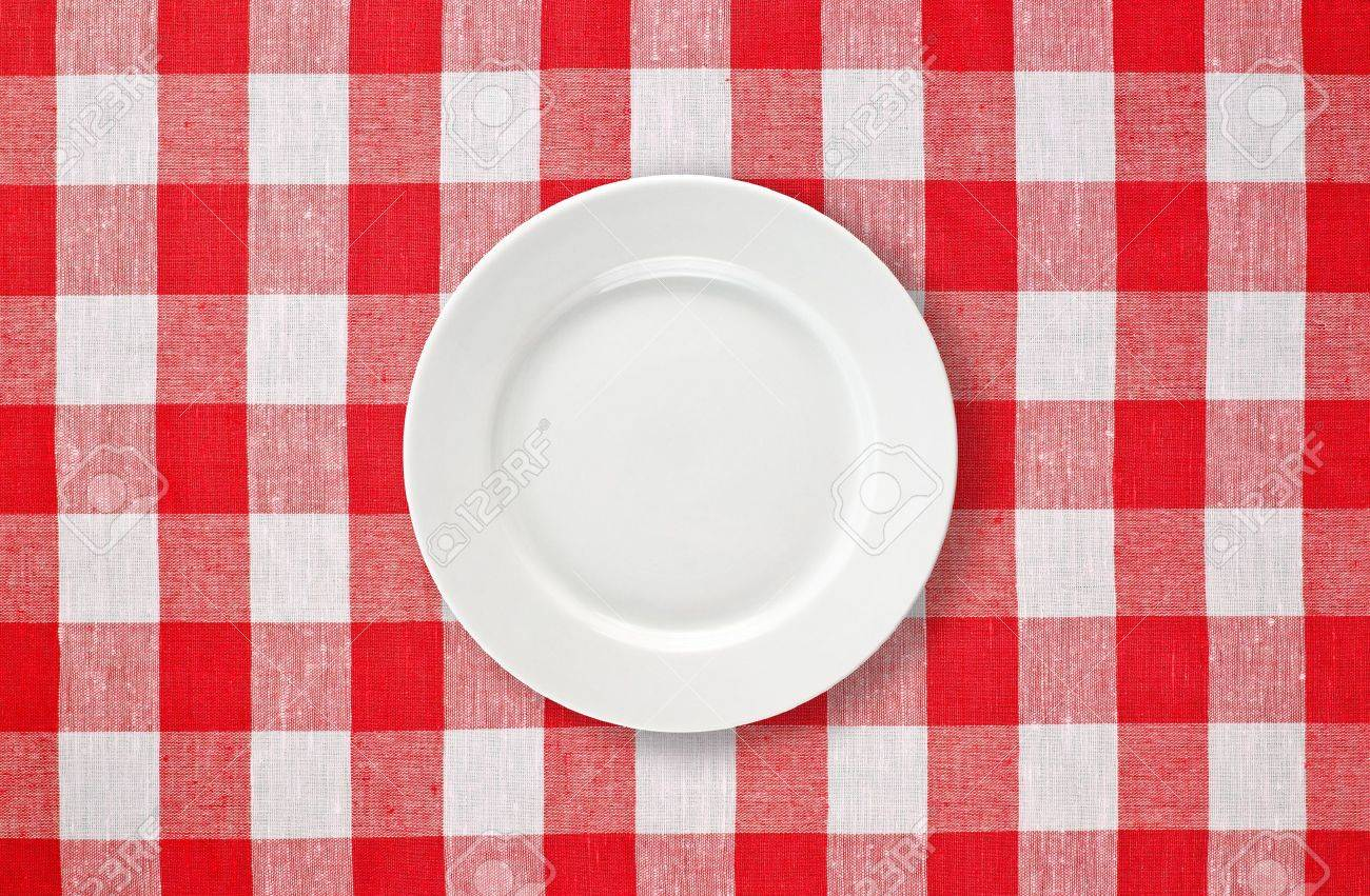 Stock Photo - white plate on red checked tablecloth & White Plate On Red Checked Tablecloth Stock Photo Picture And ...