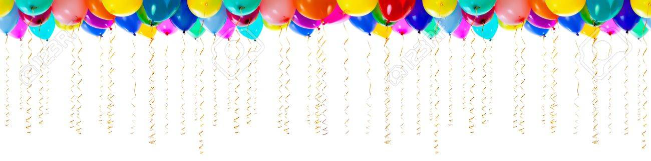 seamless colourful balloons with streamers for party or birthday