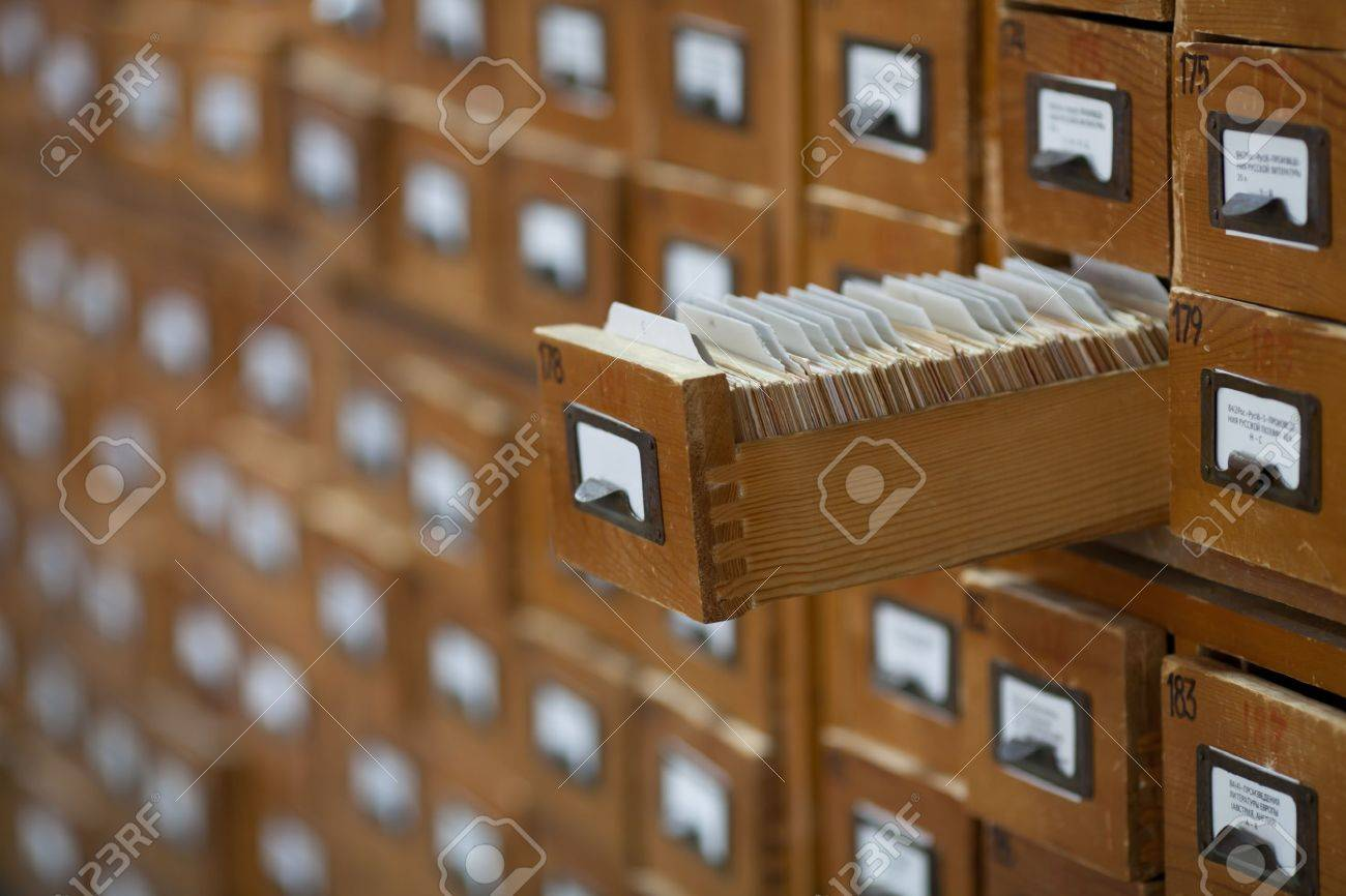 Database Concept. Vintage Cabinet. Library Card Or File Catalog. Stock  Photo   10508253