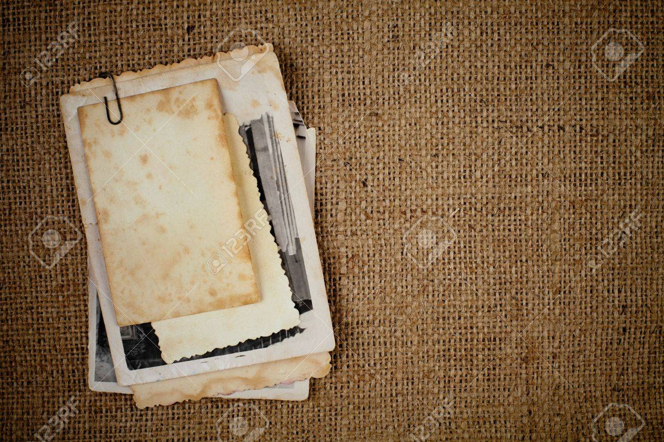 old photos bunch over burlap texture as a template for your picture Stock Photo - 11057408