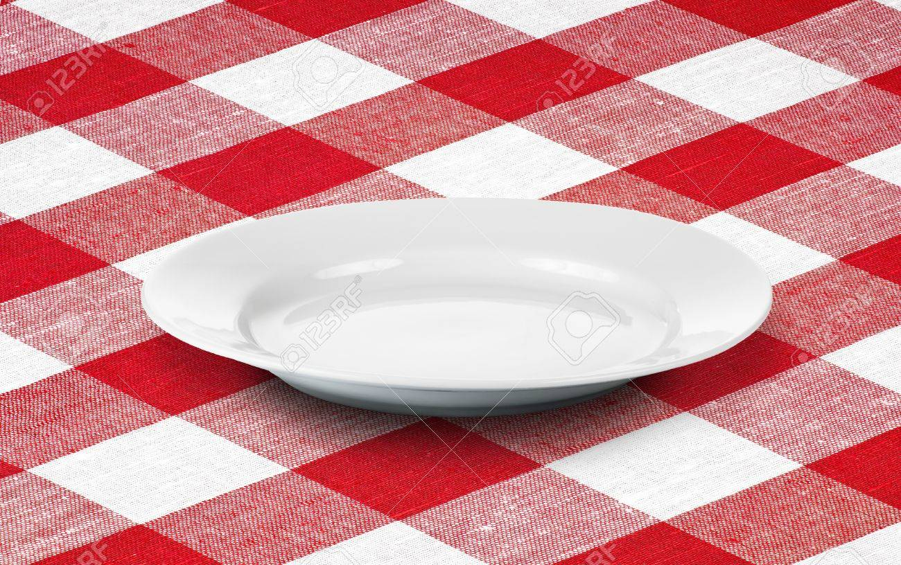 white empty plate on red gingham tablecloth Stock Photo - 11561269
