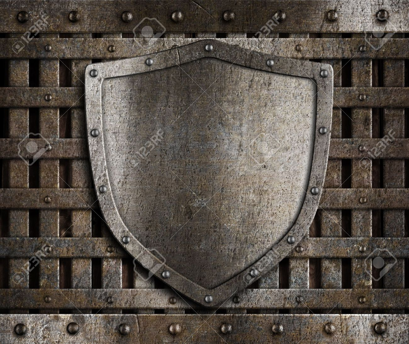 aged metal shield on wooden medieval gates Stock Photo - 12202049
