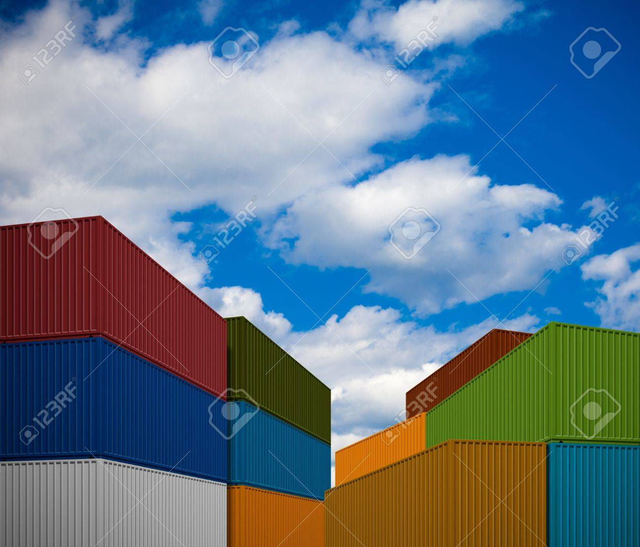 Stack of transportation containers Stock Photo - 12783372