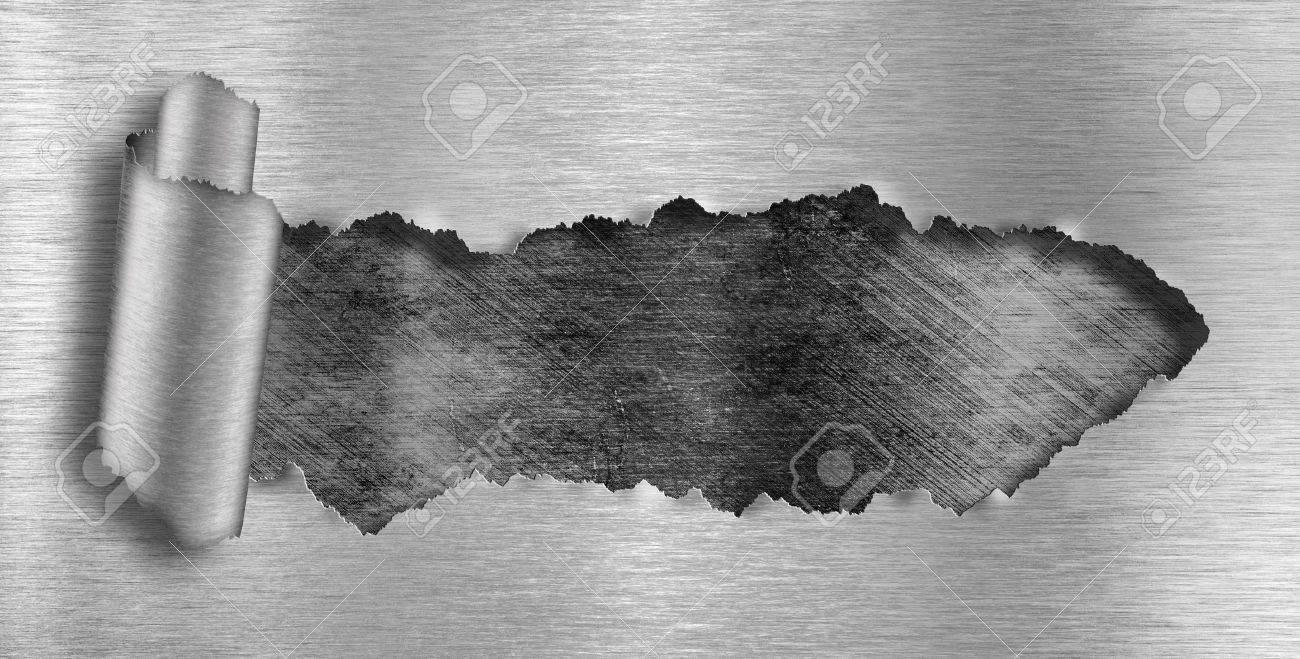 fondo de metal rasgado agujero Foto de archivo - 12783742