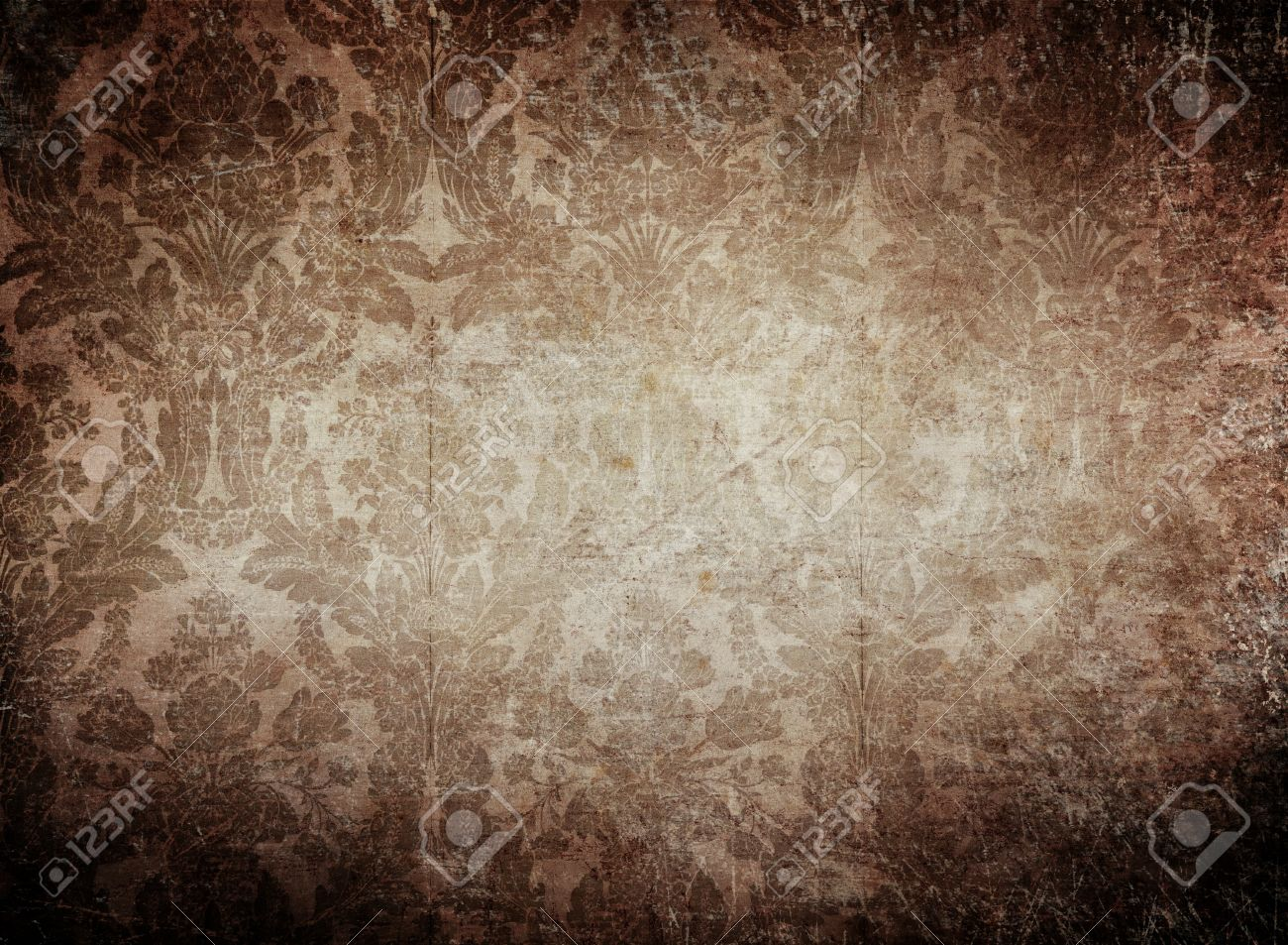 Grunge Vintage Wallpaper Background With Classy Pattern Stock Photo
