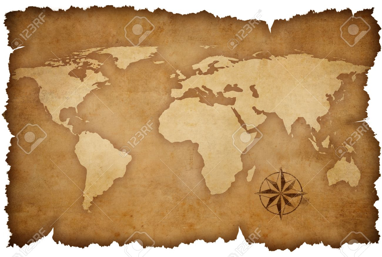 grunge world map background with rose compass Stock Photo - 12973620
