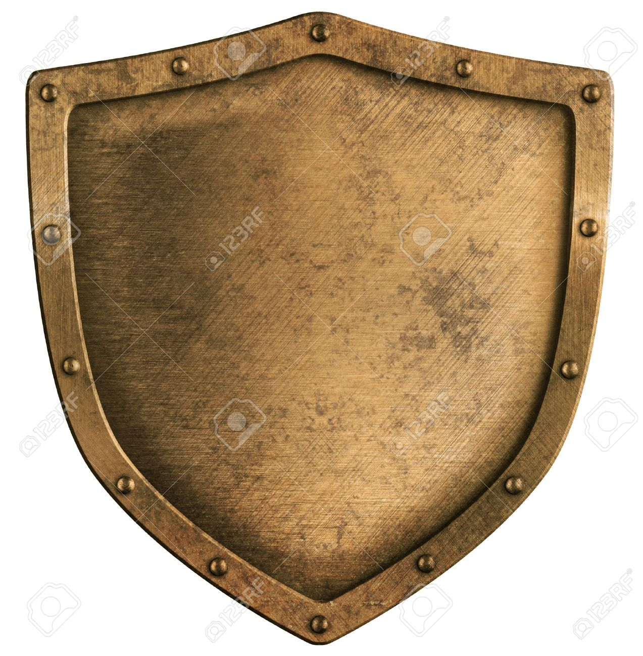 aged brass or bronze metal shield isolated on white Stock Photo - 13103962