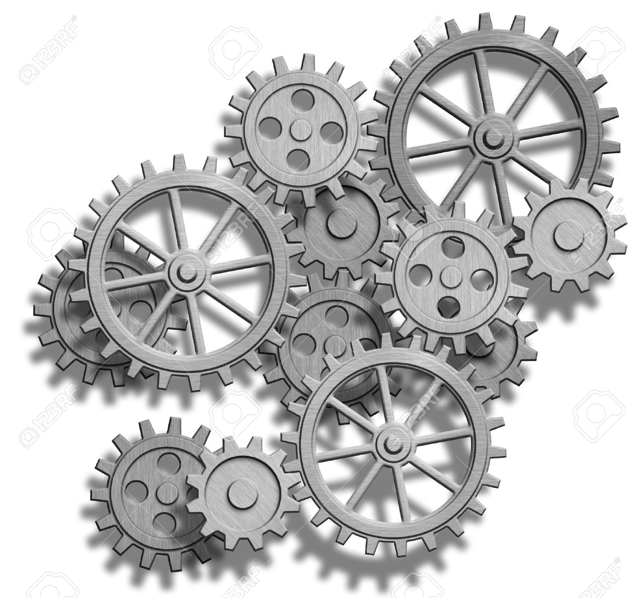 abstract clockwork gears isolated on white stock photo picture and