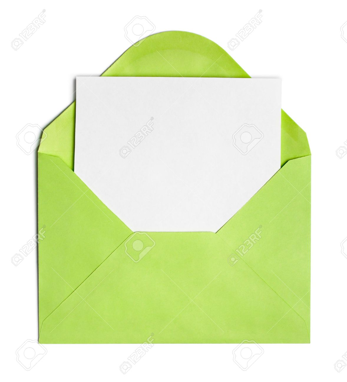 Opened green envelope or cover with blank paper sheet included Stock Photo - 14898518