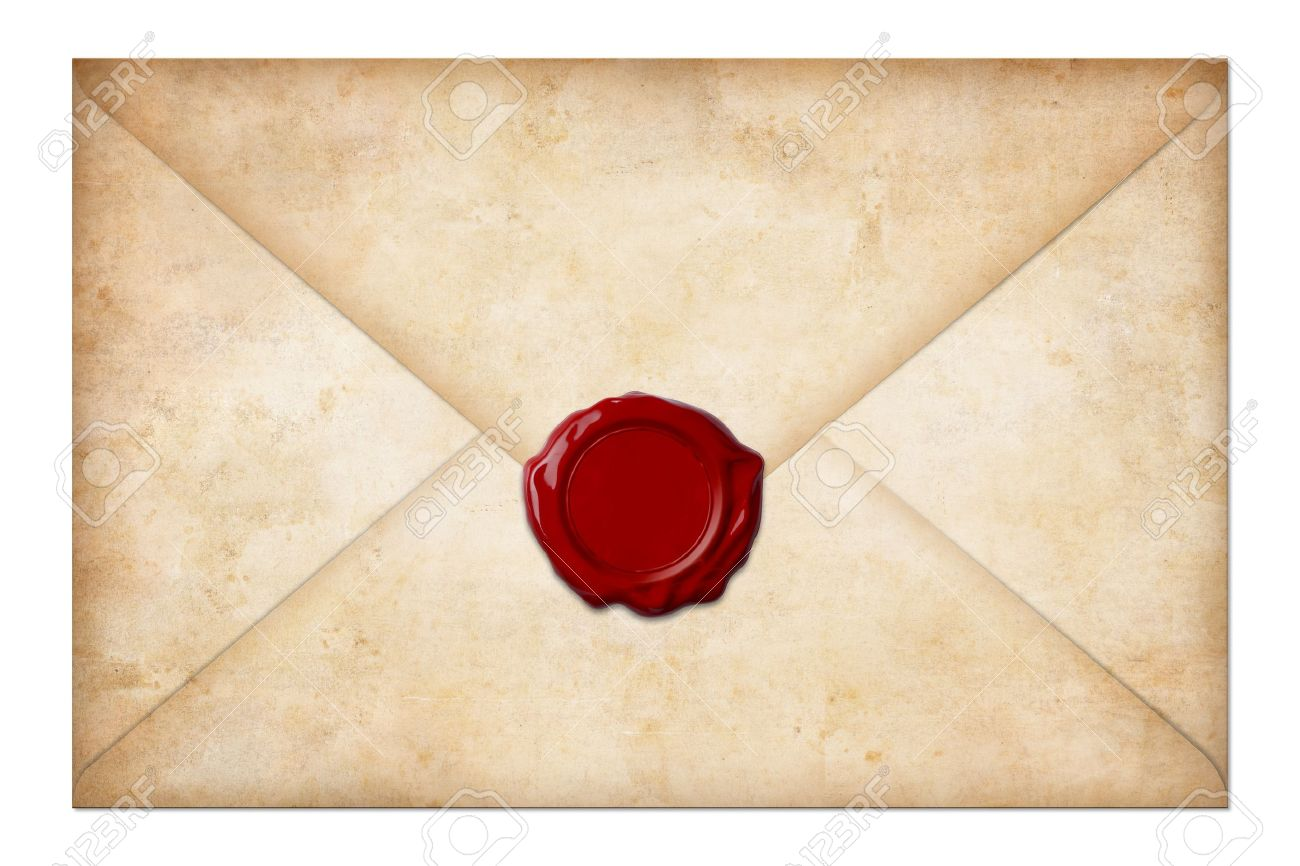 grunge mail envelope or letter with wax seal isolated on white Stock Photo - 15028101