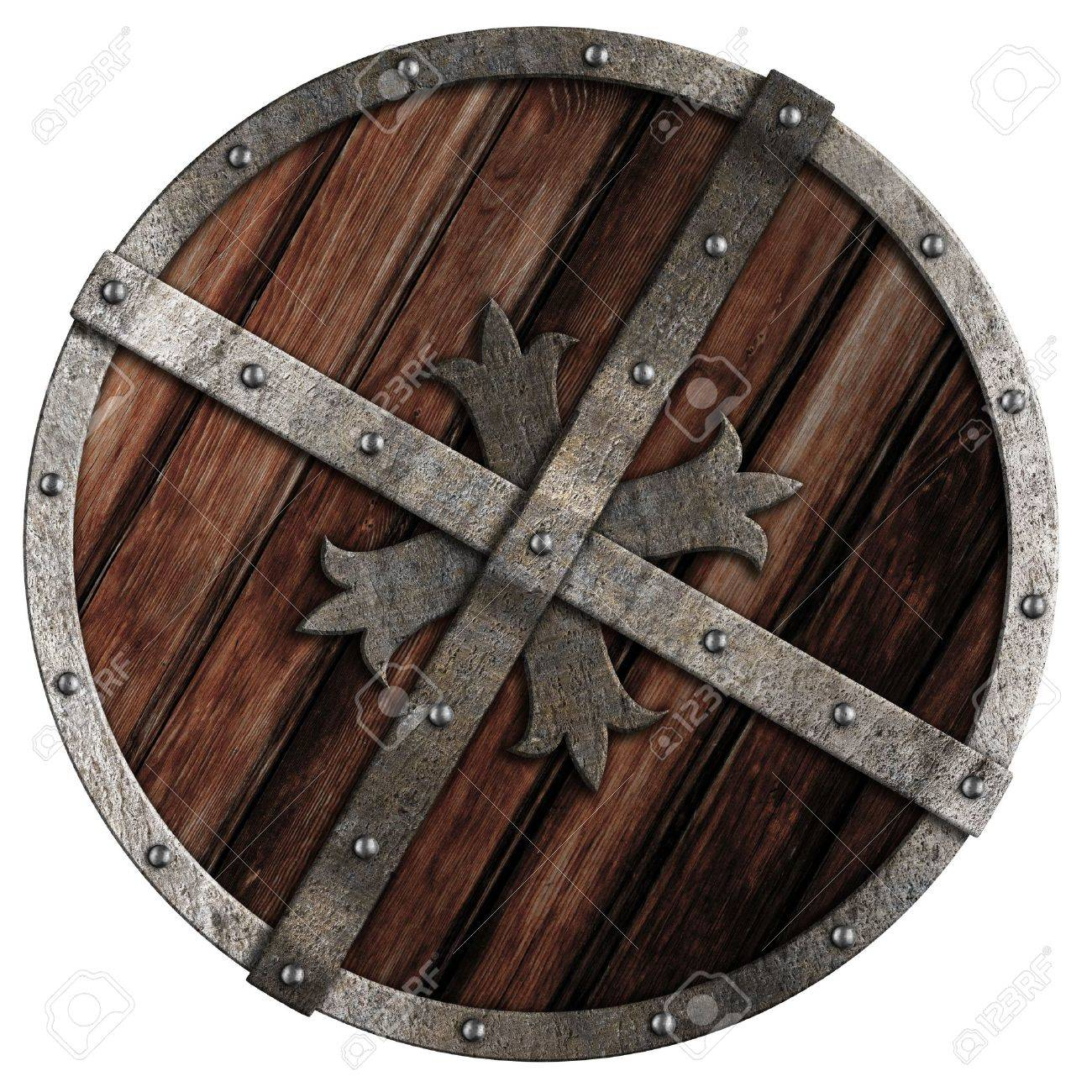 Old crusader wooden shield with metal border isolated on white Stock Photo - 15698911