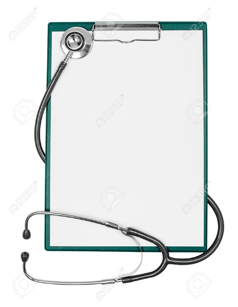 medical clipboard with blank paper sheet and stethoscope Stock Photo - 15759796