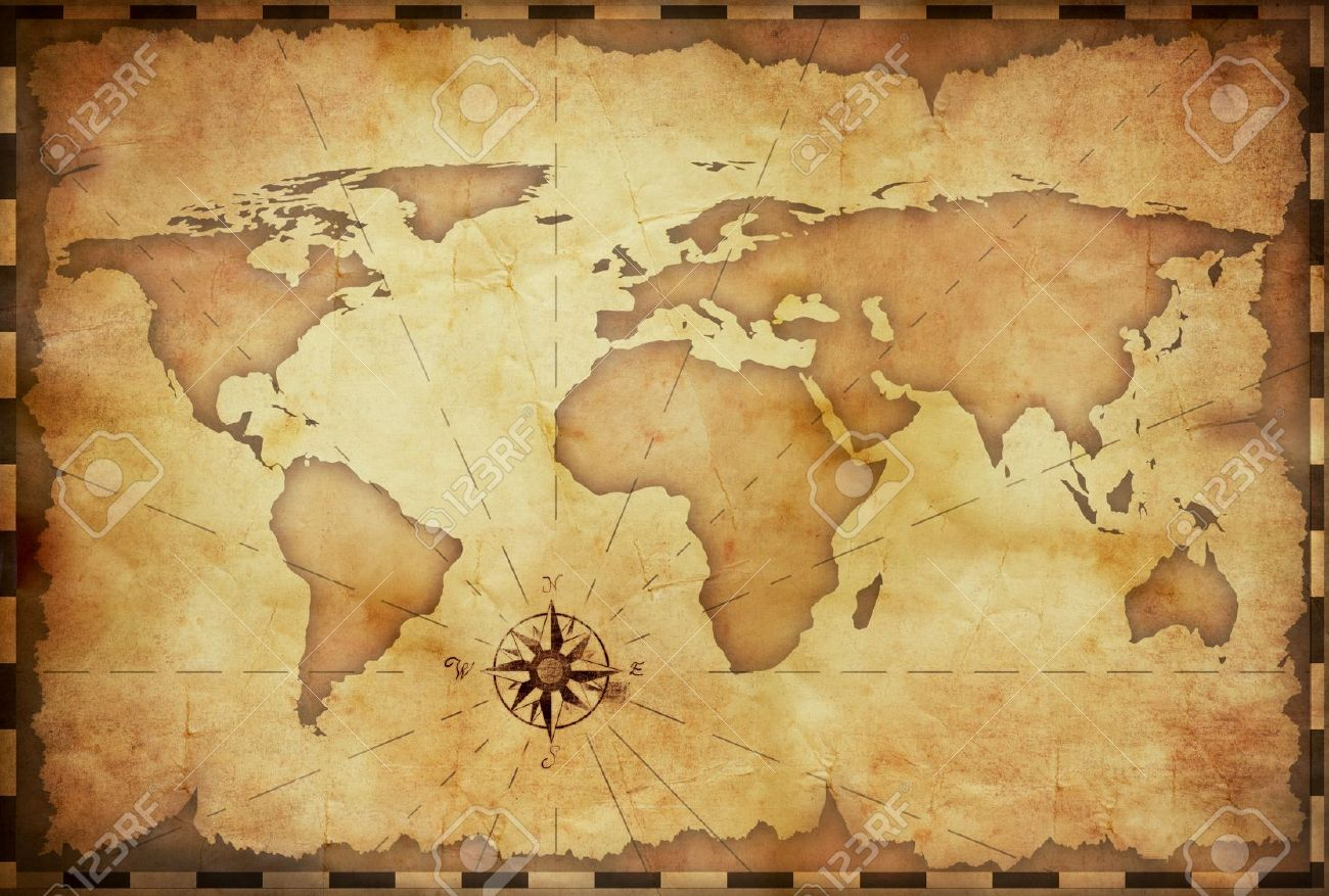 Abstract Old Grunge World Map Stock Photo, Picture And Royalty