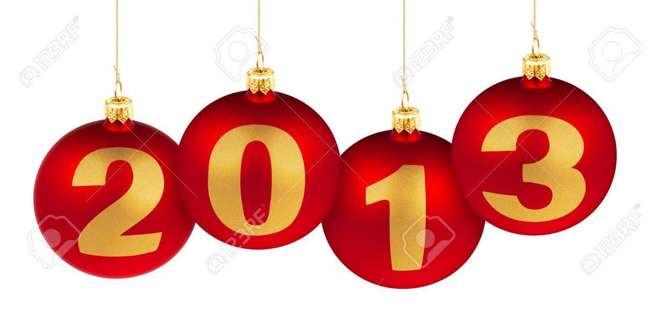 Chiffres De L'année 2013 De Nouveaux Faits De Boules De Noël Arbre