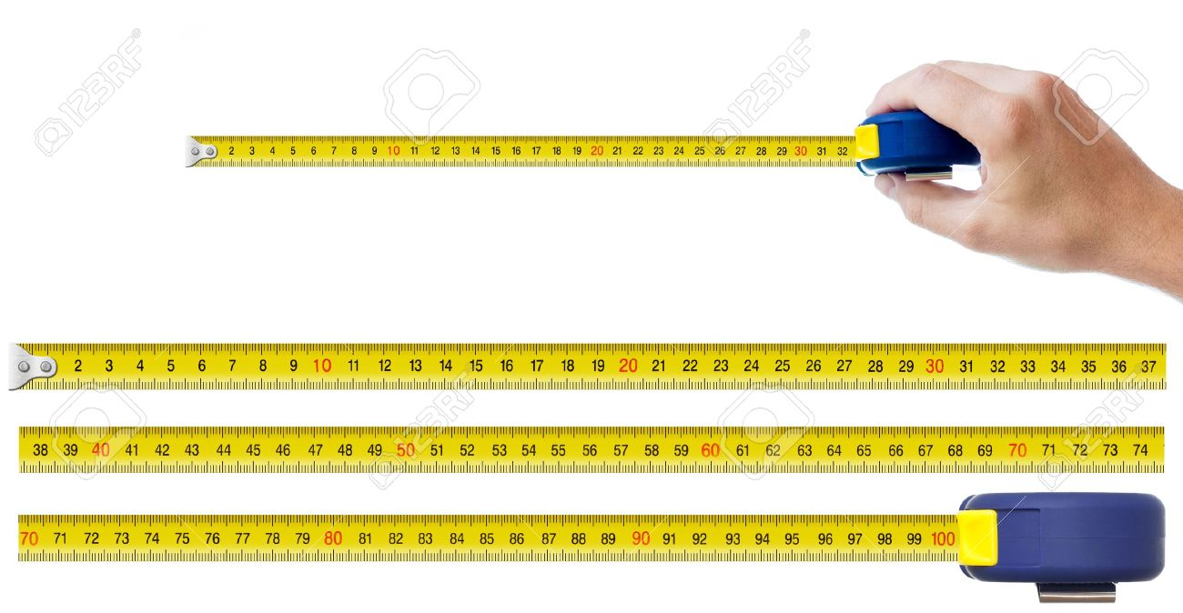Human Hand With Tape-measure And Set Of Pieces Allowing To Make ...