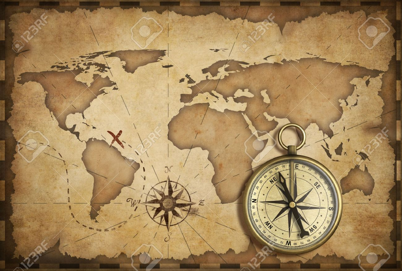 aged brass antique nautical compass and old map with track on it Stock Photo - 16798985