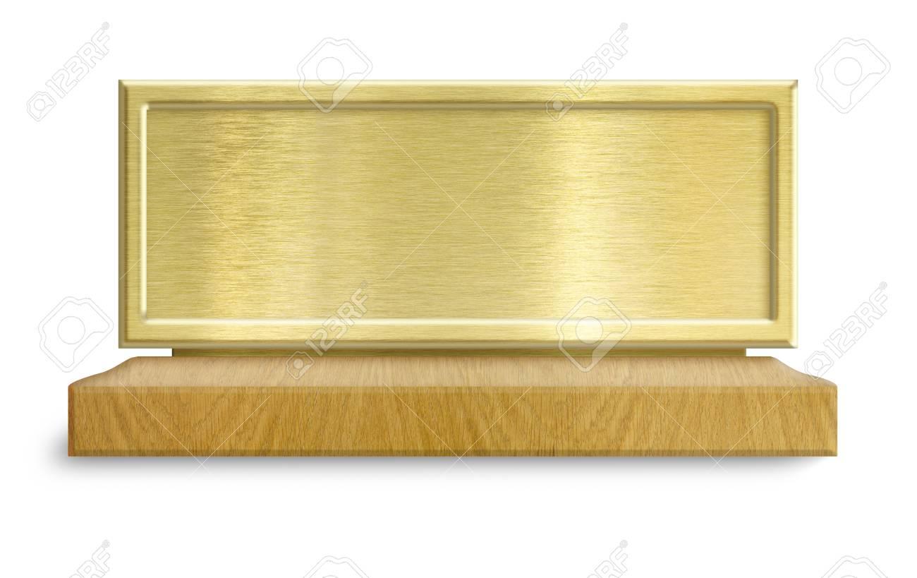 Estructura Metálica De Oro En El Soporte De Madera
