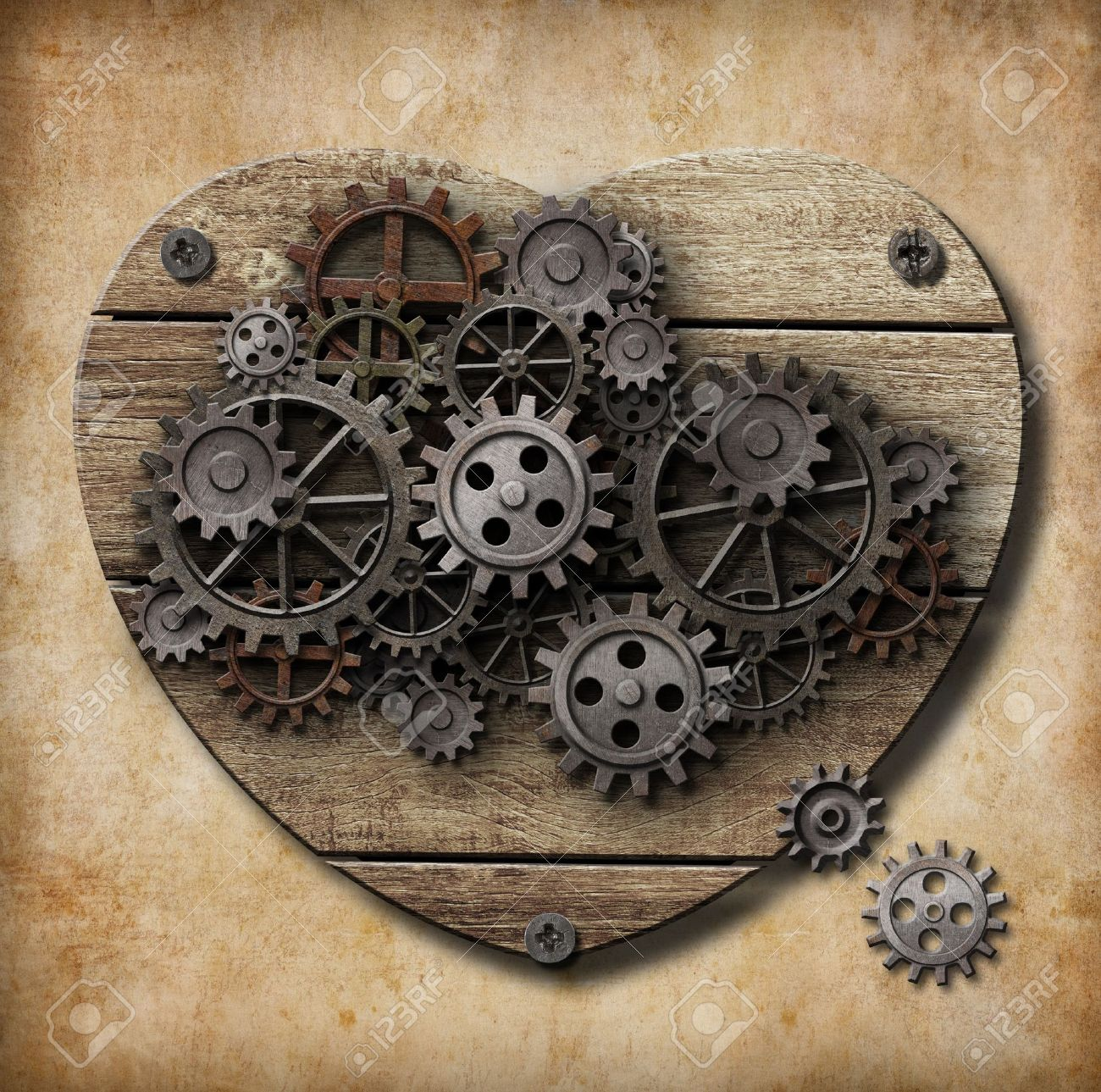 Aged human heart model made of rusty metal gears Stock Photo - 17847886