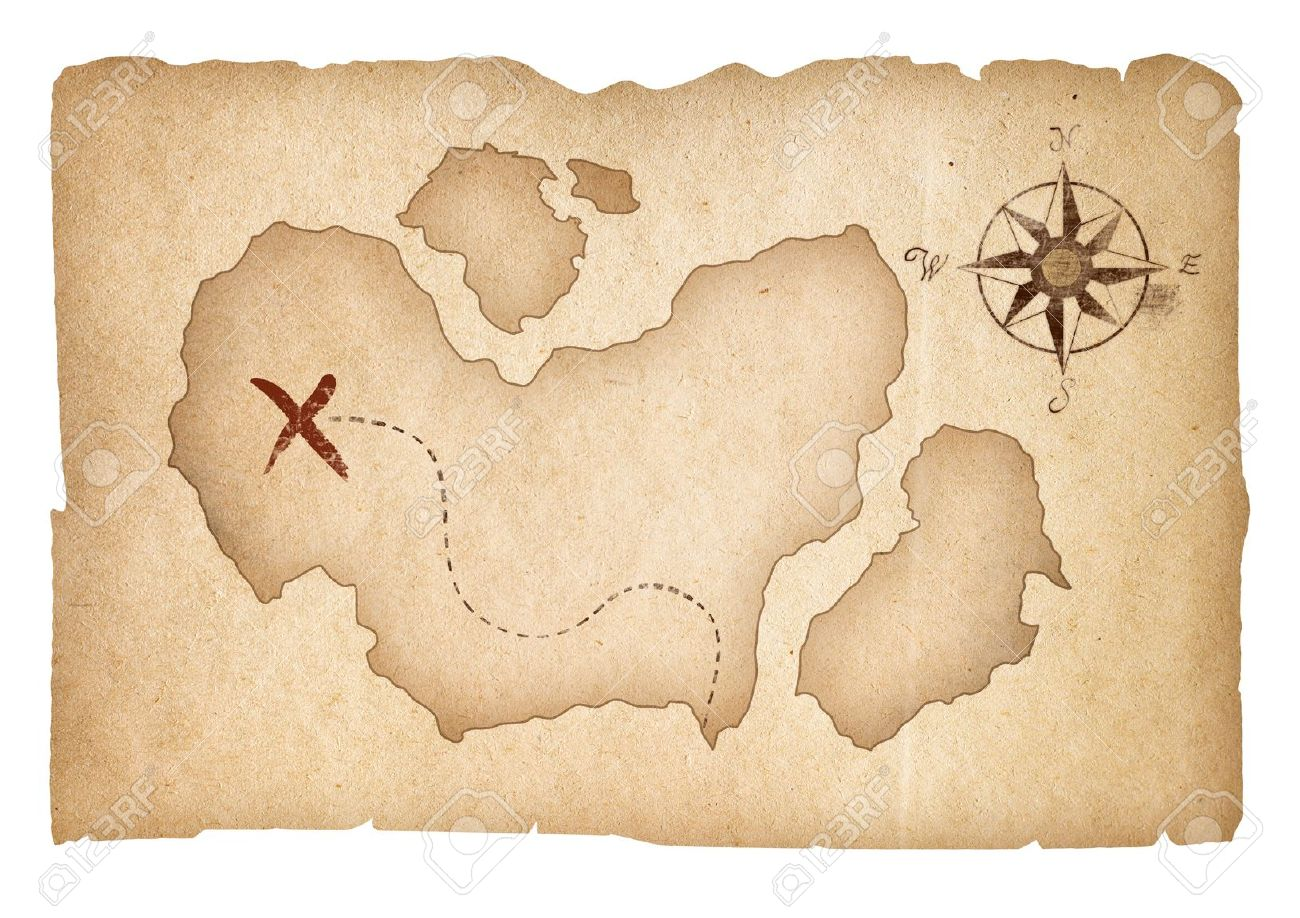 Old treasure map isolated. Clipping path is included. - 18393262