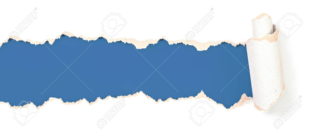 torn paper blue header isolated Stock Photo - 18537219