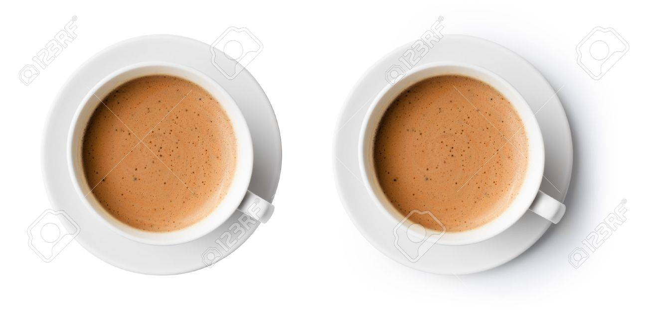 cup of coffee with beautiful foam isolated on white, top view Stock Photo - 19080240
