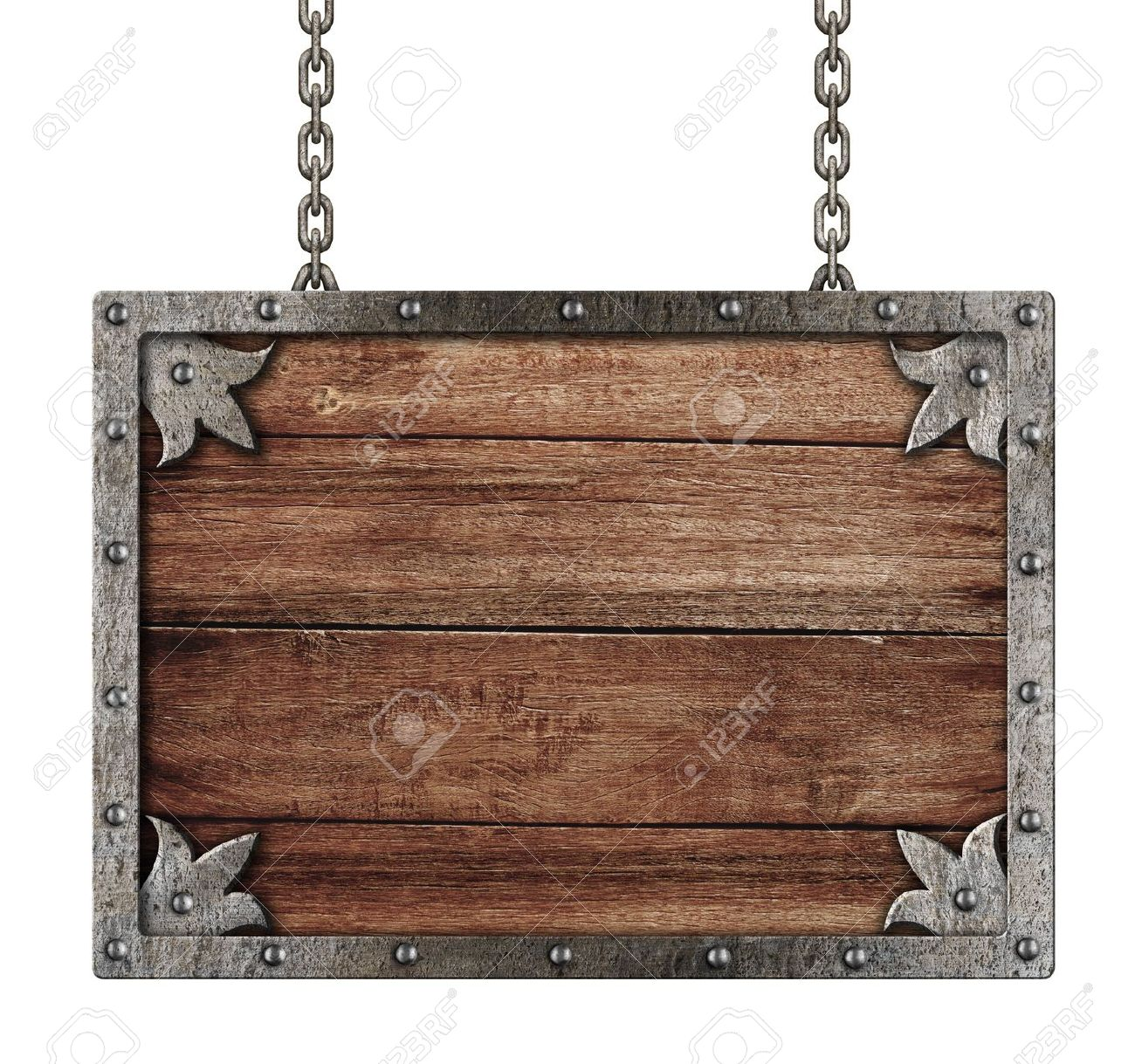 medieval old sign with chains isolated on white Stock Photo - 20580364